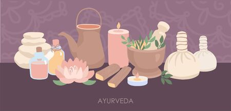 Vector illustration Ayurveda. Equipment for the Ayurvedic massage, Kerala and Shirodhara treatment. Hand drawn flat elements and Mehndi ornament in horizontal composition on dark violet background.