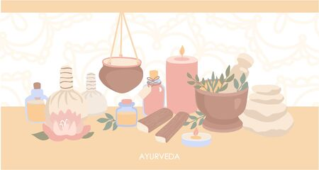 Vector illustration Ayurveda. Horizontal web banner design with objects for Ayurvedic massage. Shirodhara treatment equipment in modern flat style with Mehndi ornament on the background.