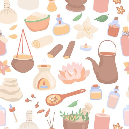 Vector seamless pattern Ayurveda. Cute objects for the Ayurvedic massage in modern flat style on white backdrop. Colorful background design for SPA and Shirodhara treatment salons.