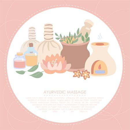 Vector illustration Ayurveda in trendy flat style. Wellness, aromatherapy, SPA card or flier design. Set of elements on Ayurvedic massage with place for text and a circle frame on the pink background.