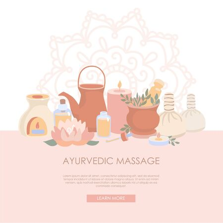 Vector illustration Ayurvedic Massage. Ayurveda objects for Shirodhara treatment in flat style. Wellness and SPA card design. Landing web page template with Mehndi ornament and place for the text. Illustration
