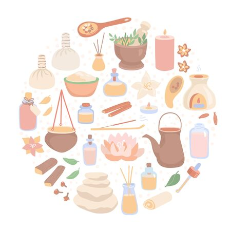Vector illustration Ayurveda. Big set of Ayurvedic massage symbols. Hand drawn flat objects in the circle composition. Card, banner, poster, flier design for SPA salons and Shirodhara treatment.