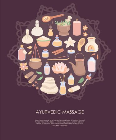 Vector illustration Ayurvedic Massage. Ayurveda symbols in the circle composition with Mehndi ornament on dark brown background. Card, flyer, poster design for SPA, Kerala and Shirodhara treatment.