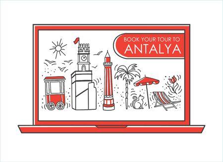 Vector line illustration Travel to Antalya, Turkey. Online tour booking. Famous Turkish landmarks on the laptop screen. Travel agency design in modern minimalist style.