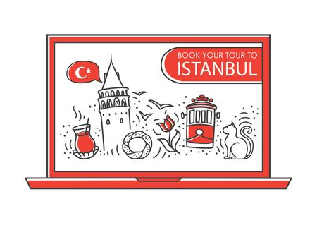 Modern vector illustration Learn Turkish online. Famous symbols of Turkey on the laptop screen. Foreign language school or course. Distant and home education concept in the doodle style.