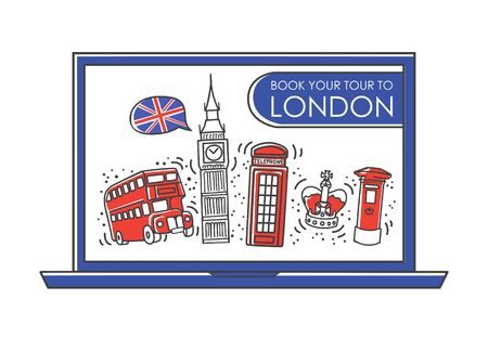 Vector line illustration Travel to London, the UK. Online tour booking. Famous English landmarks on the laptop screen. Travel agency design in modern minimalist style.