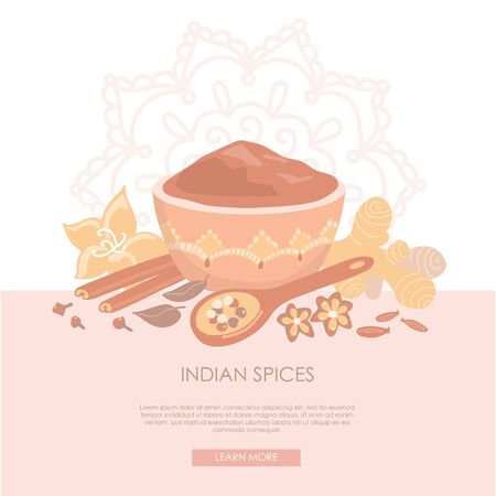 Vector illustration Indian spices. Wooden bowl and spoon with different condiment and herbs. Set of hand drawn doodle elements on white background. Healthy eating and Ayurveda card design. 向量圖像
