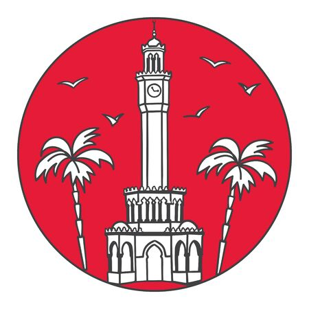 Vector illustration of a Turkish landmark with two palm trees in the red circle background. Travel round badge design.
