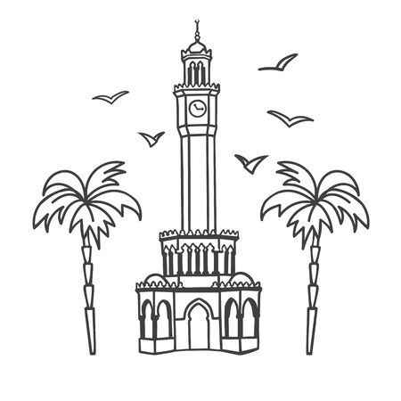 Vector illustration the Clock Tower in Izmir, Turkey. Famous Turkish landmark at the Konak square. Card, flier, banner, poster design in modern line style for souvenir print and city promotion.