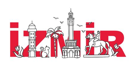Vector illustration Symbols of Izmir, Turkey. Clock Tower, historic elevator, mosque, monument and other Turkish landmarks with the city name behind. Travel design for souvenir print, tour promotion. Stock Illustratie