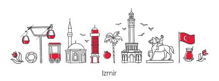 Vector illustration Symbols of Izmir, Turkey. Clock Tower, historic elevator, mosque, monument and other Turkish landmarks. Horizontal banner design for souvenir print and city promotion