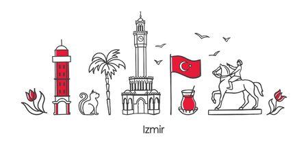 Vector illustration Symbols of Izmir, Turkey. Clock Tower, historic elevator, monument, national flag, and other Turkish landmarks. Horizontal banner design for souvenir print and city promotion.