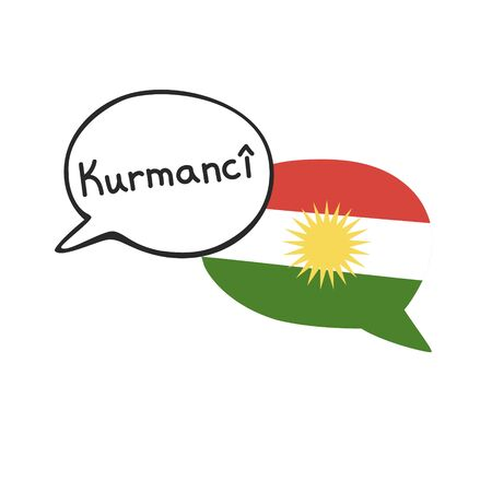 Translation: the Kurdish language. Vector illustration of two doodle speech bubbles with a national flag of Kurdistan and hand writing. Foreign language course, school or travel agency design.