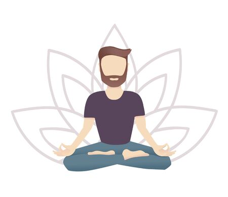 Vector illustration of a meditating man with a Lotus flower on the background. Modern flat style with soft gradients. Guy sitting in the Lotus pose. Yoga and meditation card or poster design. Stock Illustratie