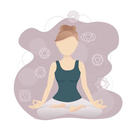 Vector illustration of a meditating girl with chakra symbols. Modern flat style with soft gradients. Woman sitting in the Lotus pose. Modern yoga and meditation card design. Stock Illustratie