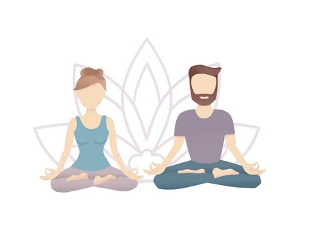 Vector illustration of a meditating couple with a Lotus flower background. Young adult man and woman practicing meditation together. Yoga flyer, poster, card design.