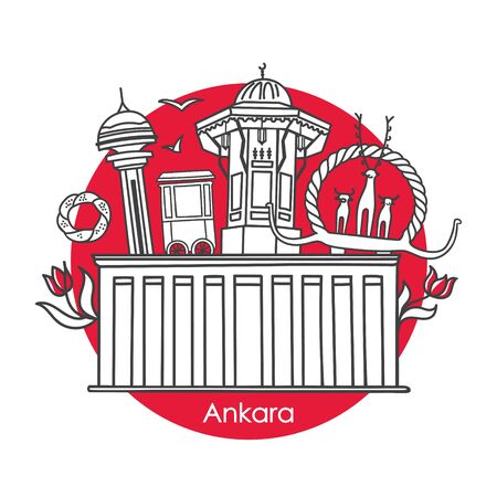 Vector illustration Beauties of Ankara, Turkey. Famous Tower, Mausoleum, fountain, Hittite monument and other Turkish symbols. Circle banner design for souvenir print and capital city promotion. Vettoriali