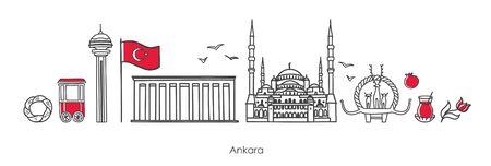 Vector illustration Ankara, Turkey. Famous Turkish landmarks in modern line style on white background. Symbols of capital: mausoleum, mosque, monument. Set of elements for travel and souvenir design. Illustration