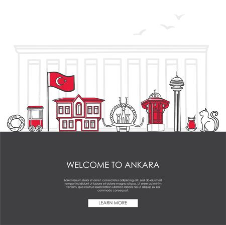Vector illustration Welcome to Ankara, Turkey. Famous Turkish landmarks in modern flat style. Landing web page template with and place for the text. Travel, tourism concept and city promotion.