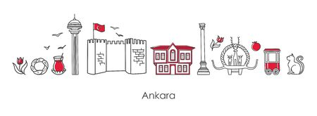 Vector illustration Ankara, Turkey. Famous Turkish landmarks in modern line style on white background. Symbols of capital: traditional house, fortress, monuments. Set of elements for travel design.