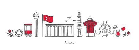 Vector illustration Symbols of Ankara. The most famous Turkish landmarks drawn in doodle style. Horizontal banner design for souvenir print and city promotion. Travel to Turkey concept design.