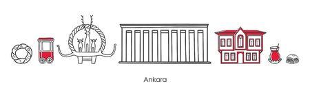 Vector illustration Symbols of Ankara, Turkey. Traditional Ottoman house, Mausoleum, Hittite monument and other Turkish landmarks. Horizontal banner design for souvenir print and city promotion. Illustration