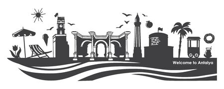 Vector illustration Welcome to Antalya. Horizontal banner with famous Turkish landmarks. Skyline image with symbols of Turkey. Black silhouette of the city attractions for travel design.