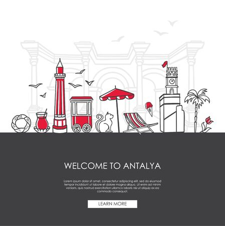 Vector illustration Welcome to Istanbul, Turkey. Famous Turkish landmarks in modern flat style. Landing web page template with and place for the text. Travel, tourism concept and city promotion.