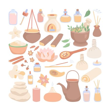 Big set of vector clip art Ayurveda. Hand drawn flat elements on Ayurvedic massage and Shirodhara treatment topic. Collection of spices, essential oil bottles, mortar, pitcher and other equipment.