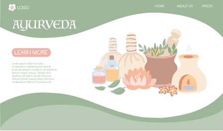Vector illustration Ayurveda in modern flat style. Landing page template on Ayurvedic massage and Aromatherapy. Horizontal banner for Spa, Wellness, Body Care theme web sites.