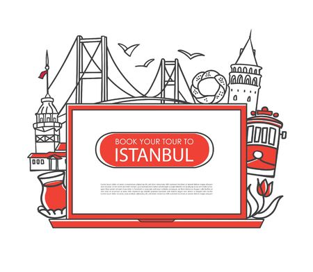 Modern vector line illustration Book your tour to Istanbul. Online trip booking. Laptop and famous Turkish landmarks on the screen. Travel agency and tour company design. Turkey traveling promotion.