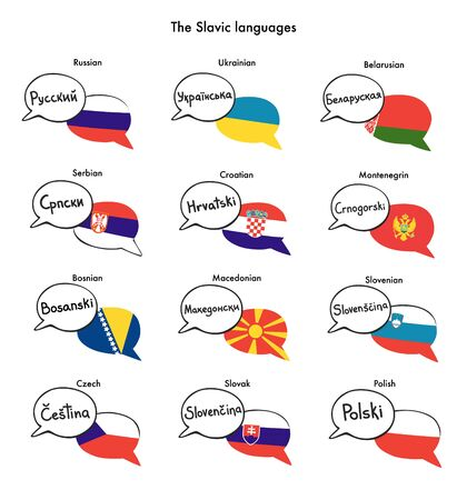 The Slavic languages. Set of vector clip art of speech bubbles with national flags of Russia, Poland, Serbia, Croatia, and other Slav countries. Foreign language course, school or travel agency design