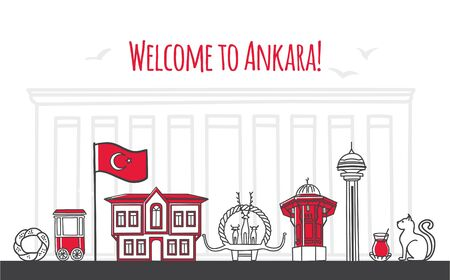 Welcome to Ankara. Modern vector illustration of famous symbols of the Turkish capital. Traditional wooden house, tower, Hittite monument. Travel to Turkey web banner and landing page design. Illustration
