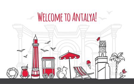 Welcome to Antalya. Modern vector illustration of famous symbols of the Turkish resort. Clock Tower, Minaret, Hadrian gate. Travel to Turkey web banner and landing page design.