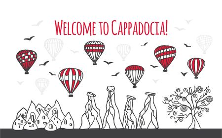 Welcome to Cappadocia. Vector illustration of famous symbols of the Turkish destination. Chimney, caves, the Evil Eye Tree, and hot air balloons. Travel to Turkey web banner and landing page design. Ilustracja