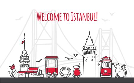 Welcome to Istanbul. Modern vector illustration of famous symbols of the Turkish city. Galata and Maiden towers, retro tram, Bosphorus bridge. Travel to Turkey web banner and landing page design. Illustration