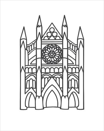 Vector outline illustration the Westminster Abbey in London, the UK. Famous British landmark in trendy minimalist line style. Hand drawn doodle object isolated on white background.