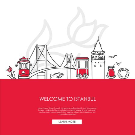 Vector illustration Welcome to Istanbul, Turkey. Famous Turkish landmarks in modern flat style on red background. Landing web page template with and place for the text. Travel, tourism concept design.