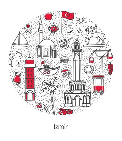 Izmir, Turkey. Vector illustration of famous Turkish symbols and landmarks in circle frame. Hand drawn doodle elements isolated on white. Set of icons in round composition for city tourism promotion.