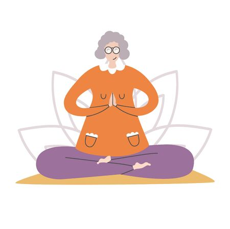 Flat vector illustration of a senior woman practicing yoga and meditation. Lovely grandmother meditating in the Lotus position on the mat with a flower behind. Active lifestyle for elder people.