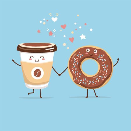 Cute vector illustration of coffee to go cup and a sweet chocolate donut. Kawaii food characters. Couple of smiling hot beverage and a tasty snack. Cute card and poster design for a cafe or a bakery.