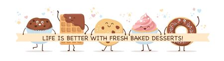 Set of smiling pastry characters in Kawaii style. Choco waffle, cookie, donut, muffin, and cupcake. Lovely baked foods with a ribbon and place for your text. Banner, card design for bakery or cafe.