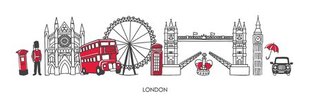 Trendy vector illustration London, the United Kingdom. Famous British attractions and places of interest in minimalist line style. Horizontal skyline banner for souvenir print design or city promotion