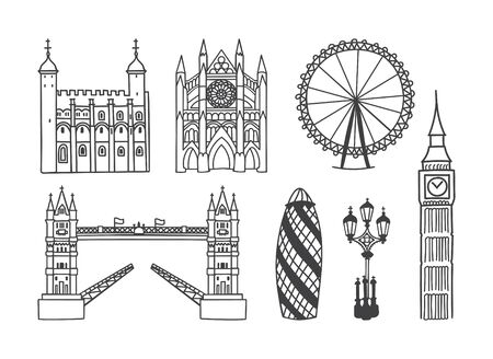 Set of vector clip art Architecture of London, the UK. Outline illustrations of Westminster Abbey, the Tower Bridge, the Tower of London, and other buildings Hand drawn doodle object isolated on white