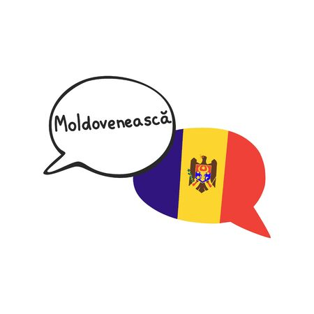 Translation: the Moldovan language. Vector illustration of two doodle speech bubbles with a national flag of Moldova and hand written endonym. Foreign language course, school or travel agency design. Çizim