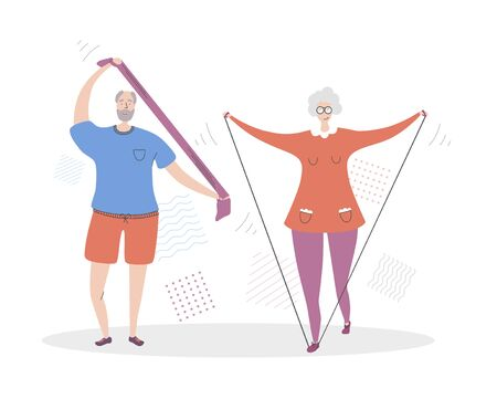 Flat vector illustration Senior Fitness. Smiling grandfather and grandmother exercising together. Active lifestyle for elder people couples. Workout with a resistance bands for adults. Çizim