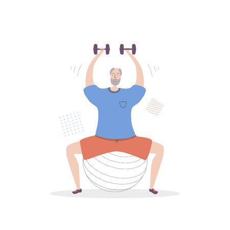 Flat vector illustration Senior Fitness. Smiling grandfather lifting weights. Active lifestyle for elder people. Workout with a fit ball and dumbbells for adults. Ilustração