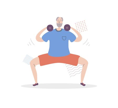 Flat vector illustration Senior Fitness. Smiling grandfather lifting weights and doing Sumo squat. Active lifestyle for elder people. Home and gym workout with dumbbells for adult men. Ilustração