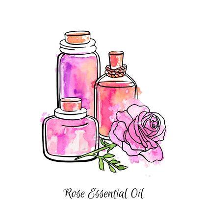 Hand drawn vector illustration of glass jars and bottles with Rose essential oil. Beautiful flasks and flower in sketch style. Black ink outline, bright colorful watercolor texture isolated on white.