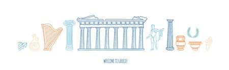 Vector illustration Welcome to Greece. Famous Greek symbols and landmarks. Doodle Parthenon, antique columns, vases in blue and orange colors. Panoramic city view for web banner landing page design.